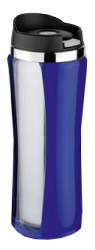 ISOSTEEL MUG S/S W/CLEAR PLASTIC OUTANDSCREW TOP 0.4L BLUE