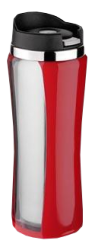 ISOSTEEL MUG S/S W/CLEAR PLASTIC OUTANDSCREW TOP 0.4L RED